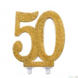 """Žvakutė """"50"""", auksinė (12 cm)"""