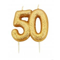 """Žvakutė """"50"""", auksinė"""