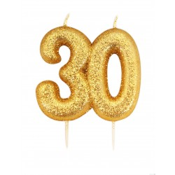 """Žvakutė """"30"""", auksinė"""